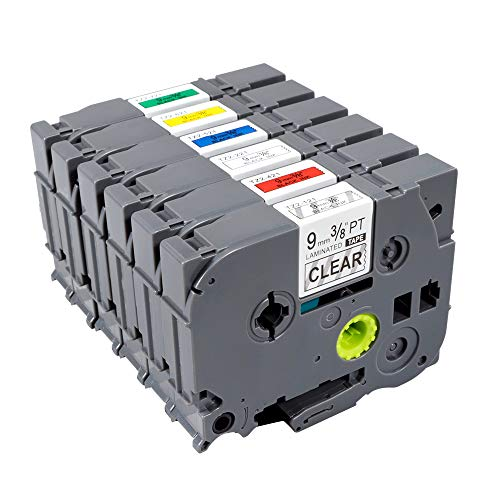 TZe TZ Labeling Tape 121 221 421 521 621 721 Label Tape Compatible for Brother P-Touch Labeling Tape Laminated 0.35 26.2ft (9mm x 8m) PT-H100 PT-D200 PT-D210 PT-D600 PT-1290 PT-2430PC Label Maker