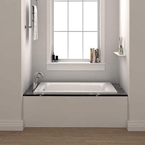 Fine Fixtures Drop In White Soaking Bathtub Fiberglass Acrylic Material 66 L X 32 W X 19 H Amazon Com