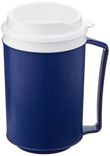 Sammons Preston Insulated Mug with Tumbler Lid, Durable Container for Hot and Cold Liquid Beverages, Tea, Smoothies, 12 oz Blue Travel Coffee Cup with Lid for Elderly, Disabled, Handicapped, Weak Grip (Lids Oz Tumblers Plastic 12 With)