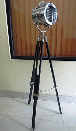 72 British Light (British Royal Master Stainless Steel Wood Tripod Floor Lamp M7029)