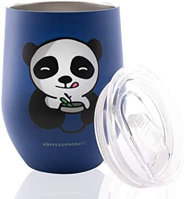 Vacuum Insulated Wine Tumbler with Spill Proof Lid Panda Blue, Double Wall Stainless Steel Wine Glass, Durable Coffee Mug, for Champagne, Cocktail, Beer, Office, Ice Cream 12oz By HappyGo