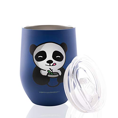 Vacuum Insulated Wine Tumbler with Spill Proof Lid Panda Blue, Double Wall Stainless Steel Wine Glass, Durable Coffee Mug, for Champagne, Cocktail, Beer, Office, Ice Cream 12oz By ()