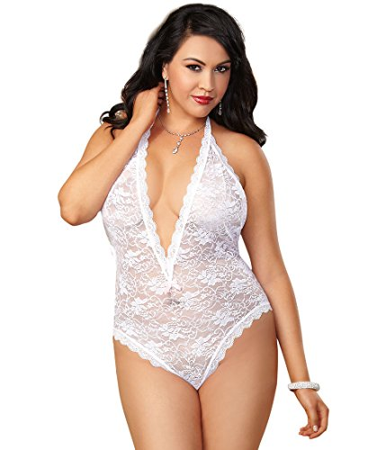 Dreamgirl 8694X Women's Plus Size Stretch Lace Halter Teddy - Plus Size - White