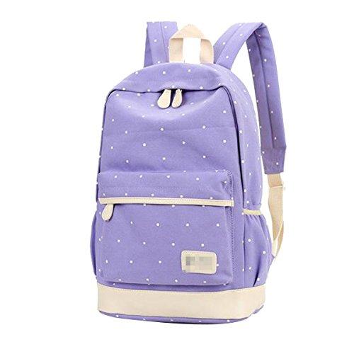 Las Mujeres Las Niñas De La Moda Punto Mochila 3 Piezas De Los Conjuntos De Viaje Mochila Bolsa De La Escuela Bolsas Saténes Multicolor Purple