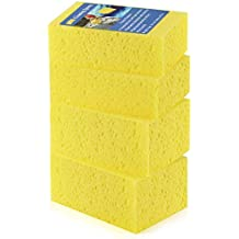 Tripole Car Cleaning Sponge 4 Pack Car Wash Sponge Artifact Non- scratch Multi- use Honeycomb Hole Scrub Sponge for Car Bike Automotive Dish Bowl Pot Home Kitchen Cleaning
