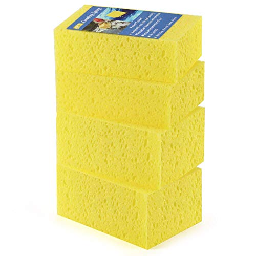 (Tripole Car Cleaning Sponge 4 Pack Car Wash Sponge Artifact Non- scratch Multi- use Honeycomb Hole Scrub Sponge for Car Bike Automotive Dish Bowl Pot Home Kitchen Cleaning)
