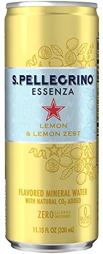 S. Pellegrino Essenza, Flavored Sparkling Mineral Water, Lemon & Lemon Zest, 11.15 fl oz Cans (24 Cans)