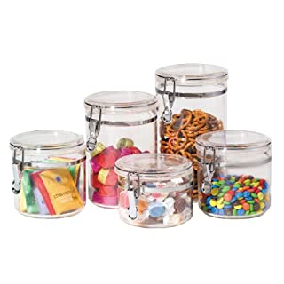Flour Sugar Storage Containers Set. Oggi 9322 5 Piece Acrylic Canister Set  With Airtight Clamp Lids Food Storage Container