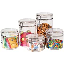Oggi 9322 5-Piece Acrylic Canister Set with Airtight Clamp Lids-Food Storage Container
