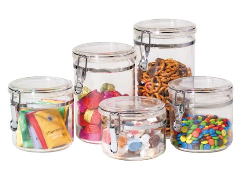 Oggi 9322 5-Piece Acrylic Canister Set with Airtight Clamp Lids-Food Storage Container Clear Acrylic Canister Set