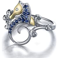 Yupha Vtg Blue Topaz Sea Horse 925 Silver Ring Men Women (6)
