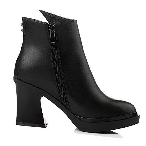 Allhqfashion Women's Blend Materials Closed Toe Solid Boots Black-rivet DlR22qCJKn