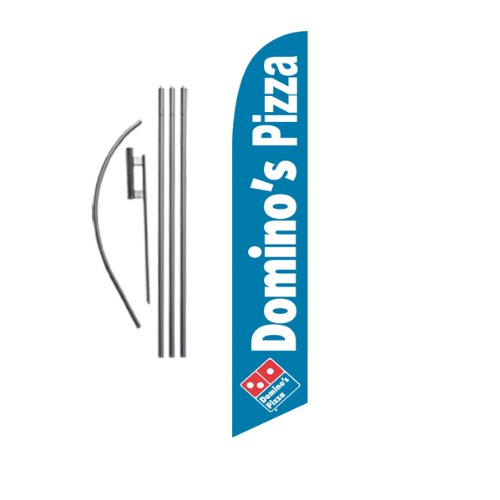 Custom Domino's Pizza 15ft Feather Banner Swooper Flag Kit - INCLUDES 15FT POLE KIT w/GROUND SPIKE