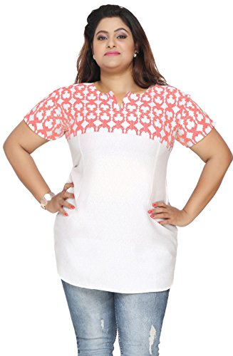 Plus Size Womens Indian Tunics Kurti Top Printed Apparel (White-Red, 4XL)