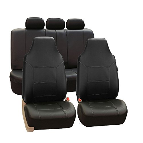 FH Group FH-PU103115 High Back Royal PU Leather Car Seat Covers Airbag & Split Solid Beige
