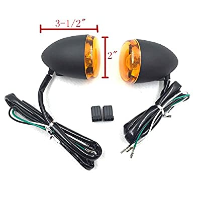 HTTMT MT224-017F- Motorcycle Heavy Billet Aluminum Front Turn Signal Light Indicator Light Yellow lens Compatible with 1992-2016 Harley Davidson Sportster XL 883 1200: Automotive