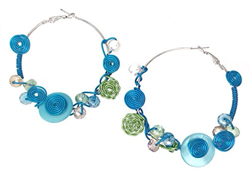 (Colorful Wire Art Glass Beads Silver Tone Large Hoop Earrings (Blue & Green))