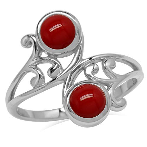 5MM Created Round Shape Red Coral 925 Sterling Silver Leaf & Swirl Style Bypass Ring Size 8