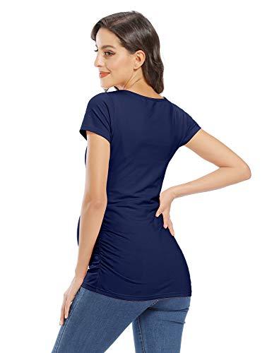 GLAMIX Women's Maternity T-Shirt Side Ruched Short & 3/4 Sleeve Basic Pregnancy Tops