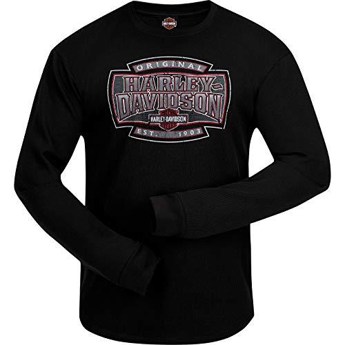 Harley-Davidson Military - Men's Long Sleeve Thermal Shirt with Round Hem - Ramstein Air Base | H-D Shield - Mens Shirt Shield Thermal