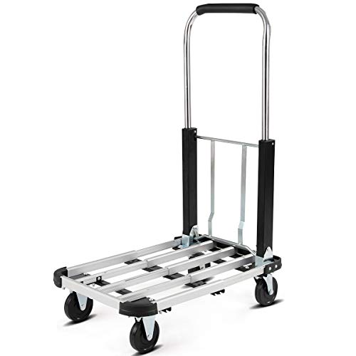 Goplus Folding Platform Truck Heavy Duty Portable 4-Wheel Dolly Cart, Height and Length Adjustable, 330-lb Capacity, Silver