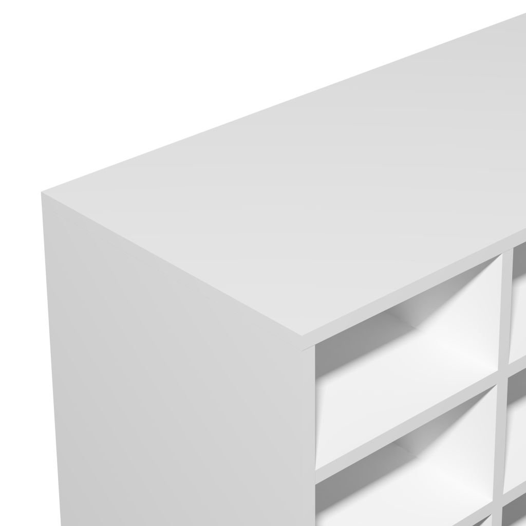 vidaXL Shoe Rack Chipboard 92x33x67.5 cm White Footwear Storage Unit Cabinet