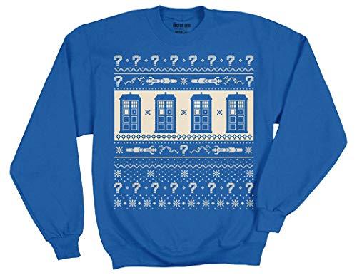 (Ripple Junction Doctor Who Adult Unisex S7 12TH Tardis Pattern Fleece Crew Sweatshirt SM)