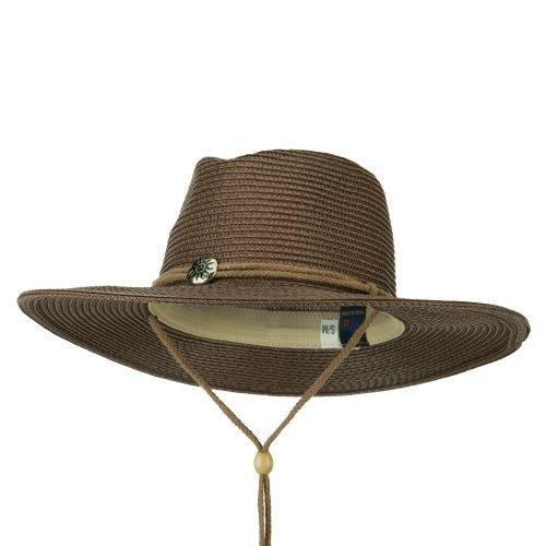 MG Ladies Toyo Braid Outback Wide Brim Hat - Brown - Braid Toyo Wide Hat