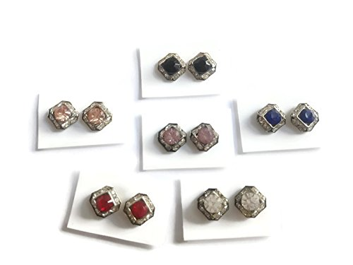 Pack of 6 Pairs Cubic Zirconia Crystal Magnetic Stud Earrings Mix Size Color