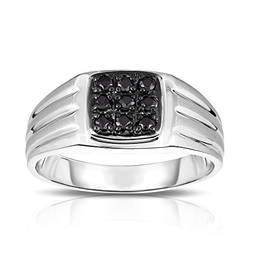 Noray Designs 14K White Gold Diamond (0.24 Ct, I1-I2 Clarity, Black Color) Men's 9-Stone Ring by Noray Designs