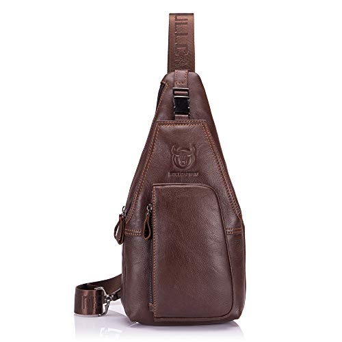 Bull Captain Genuine Leather Men Bag Travel Sling Pack Durable Cross Body Mens Back Packs with Pockets XB-086 (Brown) by Bull Captain
