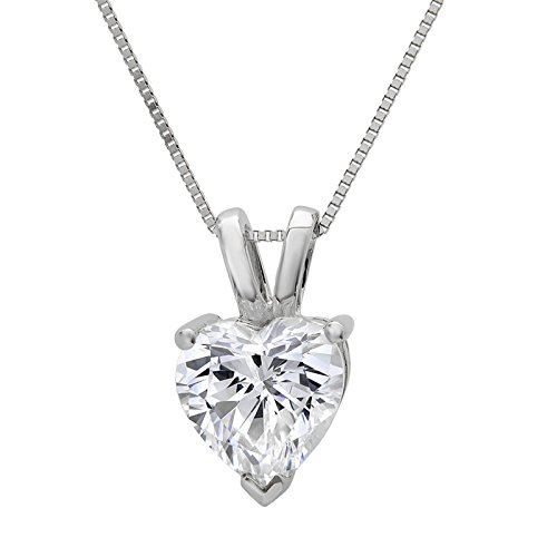 0.55 ct Brilliant Heart Cut Highest Quality Created White Sapphire Ideal VVS1 D Solitaire Pendant Necklace With 16