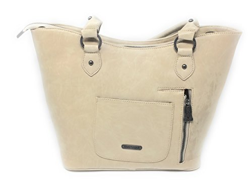 Purse Your Floral Tooled Weapon Leather Zip Tote Concealed Beige Shoulder Top Handbag For w Carry Carrying vYqFOw