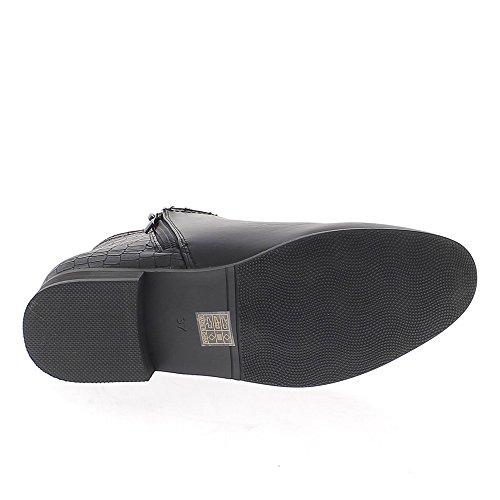Bottines basses noires à talon de 2,5cm aspect cuir brillant et croco