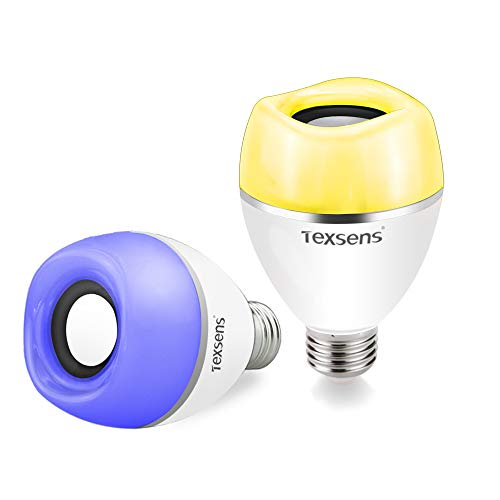 Texsens LED Light Bulbs with Integrated Bluetooth Speaker - Multiple Bulbs Music Sync, APP Control, 2 Pack