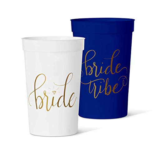 15 Piece Set of Bride Tribe 12 oz. Party Cups in Pink, Blue, Gold, Black, Navy, or Mint (Navy)
