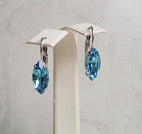 Stylish Marquise Crystal Leverback Earrings Simulated Aquamarine March Birthstone Gift Idea RP