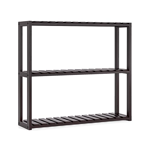 HOMFA Bamboo Bathroom Shelf 3-Tier Multifunctional Adjustable Layer Rack Wall Mounted Utility Storage Organizer Towel Shelves Kitchen Living Room Holder Dark Brown (Bathroom Units Wall Mounted Storage)