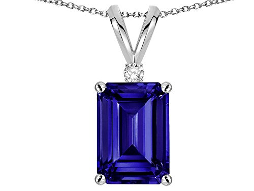 Star K Classic Octagon Emerald Cut 8x6mm Genuine Iolite Pendant Necklace 14 kt White Gold ()