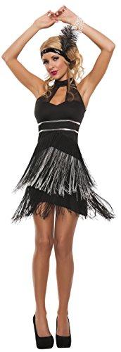 [Starline Women's Flirty Flapper Sexy Roaring 20s Costume 2 Piece Set, Black, Large] (Roaring 20s Flapper Costume)