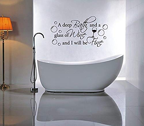A Deep Bath and Glass Wine and I Will Be Fine, Art Transfer Stencil Silver Wall Decals Mural Decor Vinyl Sticker SK8814