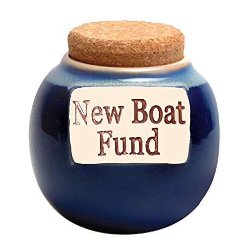 Tumbleweed - New Boat Fund - Dark Blue Ceramic Jar With Cork Lid - Piggy Bank - Boat Lovers