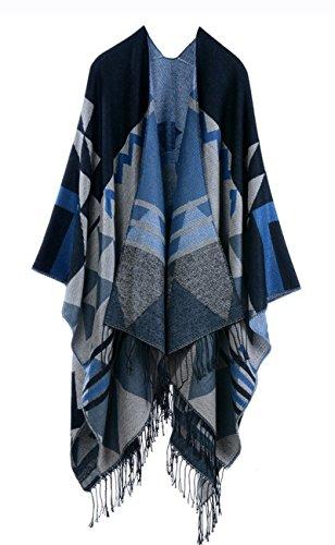 Womens Bohemia Tassels Knit Cashmere Ponchos Long Pashmina Kimono Cardigan Shawls Black One Size