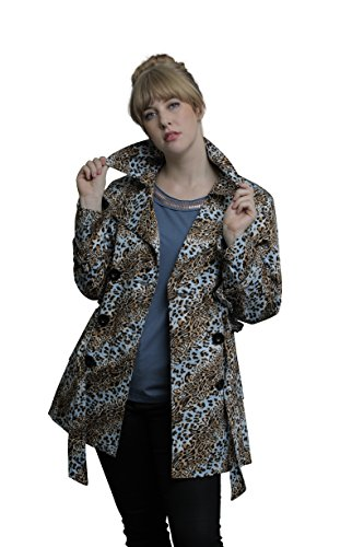 men's Animal Trench Coat X-Large Light Blue & Brown (Animal Print Trench Coat)