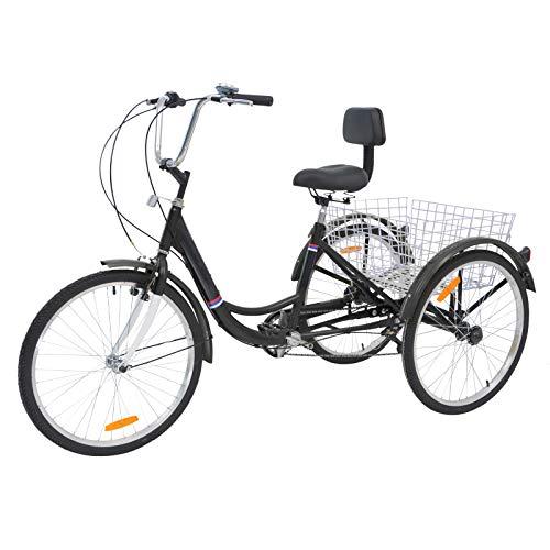 H ZT Single Speed Adult Tricycle Trike Cruiser Bike 3 Wheeled Bicycle w Large Basket and Maintenance Tools, Men s Women s Cruiser Bicycles, 24 Inch Wheel Size Bike Trike