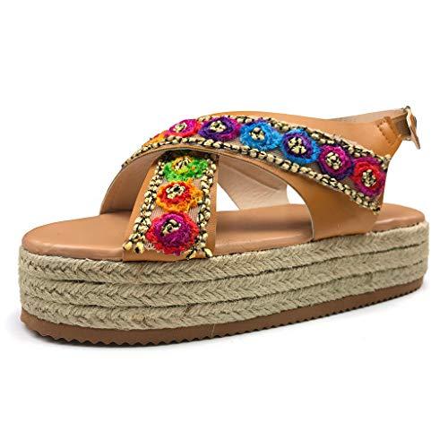 Halfbye Women's Embroidered Platform Sandals - Espadrilles Floral Peep Toe Sling Back Flat Sandals for Women ()