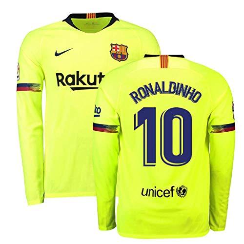 76a264b85ed 2018-2019 Barcelona Away Nike Long Sleeve Football Soccer T-Shirt Jersey  (Ronaldinho 10)