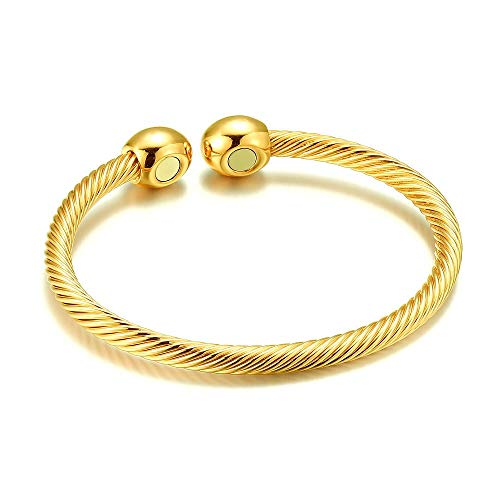 - Huangiao Magnetic Bracelet Copper Therapy Magnets Bangle For Arthritis Pain Women Men Students Anti-Radiation Health Bangle (Yellow)