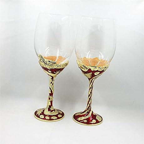 Wedding Decorative And Tooling Enamel Dragon Phoenix Cup Wine Glass Red Swarovski Crystals Unique Stunning Wedding 2pcs Pair