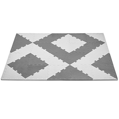 Non-Toxic Premium Quality Foam Play Mat. Non-Slip, AntiBacterial, Easy To Clean. Thick, Soft, Comfortable & Customizable Grey Neutral Colors. Great For Baby/Toddler Safety + Exercise 4FTx6FT | 24 SqFt